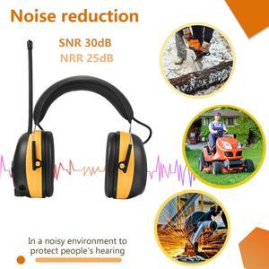 Image 2 - Fryzjerem cyfrowy AM/FM Stereo Radio nauszniki NRR 24dB ochrona słuchu do koszenia, profesjonalnego ochronników słuchu słuchawki Radio