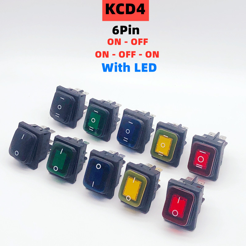 KCD4 ON-OFF ON-OFF-ON 20/16A 125/250VAC 6Pin DPST IP67 Sealed Waterproof T85 Auto Boat Marine Toggle Rocker Switch with LED 220V