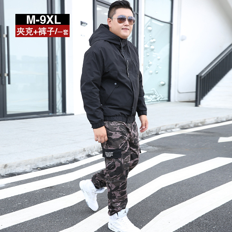 Coat Men's Spring And Autumn Trend Hooded Leisure Sports Suit Students Men'S Wear A Set Of Collocation Plus-sized Increase The N