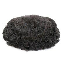 עמיד עור בסיס 20mm עמוק תלתל גברים שיער טבעי מערכת החלפת הפאה פאה התקנה פאה תותבת שיער אובדן