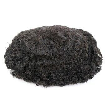 Base de piel duradera 20mm Deep Curl Men cabello humano sistema de reemplazo peluquín instalación peluca prótesis para la pérdida de cabello