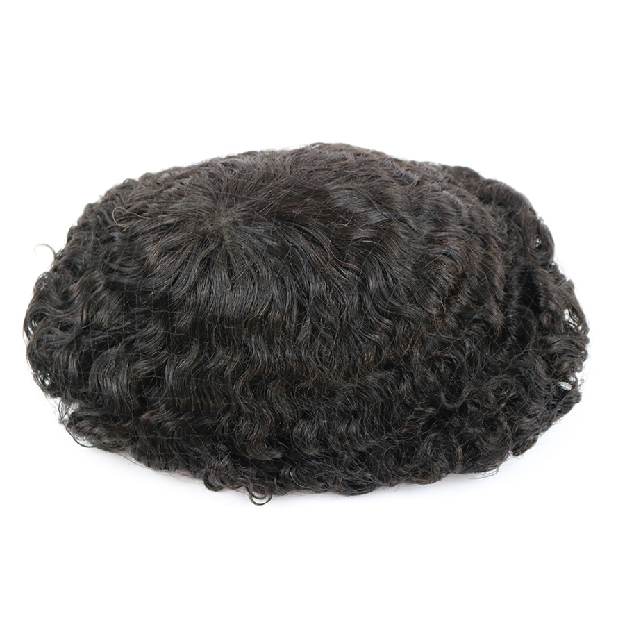 Durable Skin Base 20mm Deep Curl Men Human Hair System Replacement Toupee Hairpiece Installation Wig Prosthesis for Hair LossToupees   -