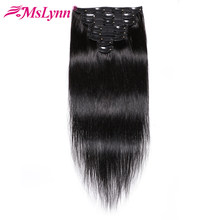 Brazilian Hair Weave Bundles Straight Hair Bundles Remy Hair Clip In Human Hair Extensions 8 Pieces/Set 120Gram Mslynn Full Head(China)