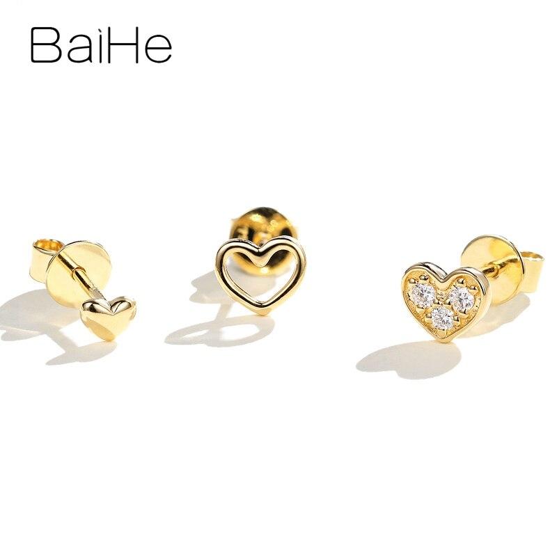 BAIHE solide 14K or jaune Total 0.05ct rond 100% véritable diamants naturels Engagement à la mode bijoux fins cadeau boucles d'oreilles