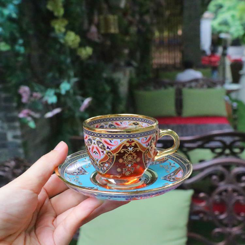 Turkish style Printed <font><b>coffee</b></font> <font><b>cup</b></font> <font><b>sets</b></font> top quality Mini Glass tea <font><b>cup</b></font> Afternoon tea Europe concentration <font><b>cup</b></font> party drinking ware image