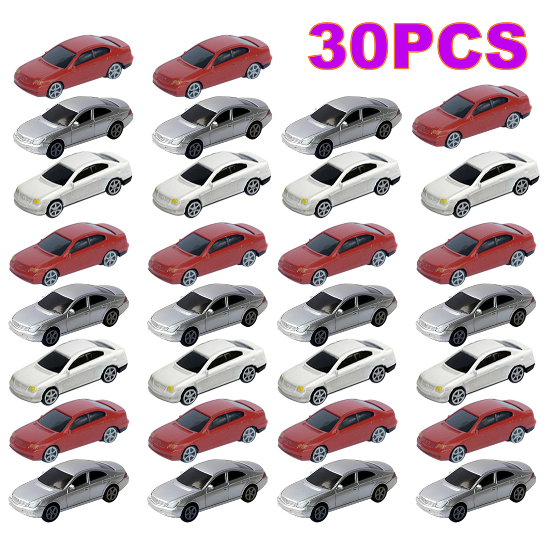 30Pcs 1/75/100/150/200 Scale Simulation Plastic Mini Car Plastic Model Car For DIY Sand Table Building Model - Random Color