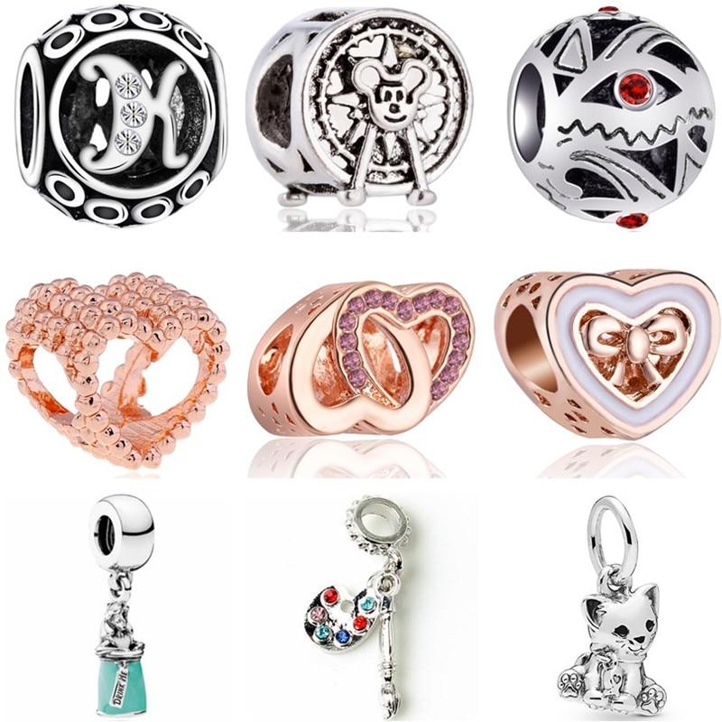 Mickey Beads Jewelry Crystal-Key Evil Eyes Fit Pandora Horse-Elephant Women Handmade