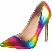 Sexy Patent leather rainbow Pointed Toe Woman Shoes Stiletto High Heels Pumps Ladies Customize Heel 10 cm 12 cm big size 6 12