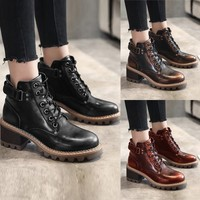 Stylish Gradient Retro Women's Flats Ankle Boot SteamPumk Steam Lace Up Shoes Strap Buckle Low heeled Western Ankle Boots