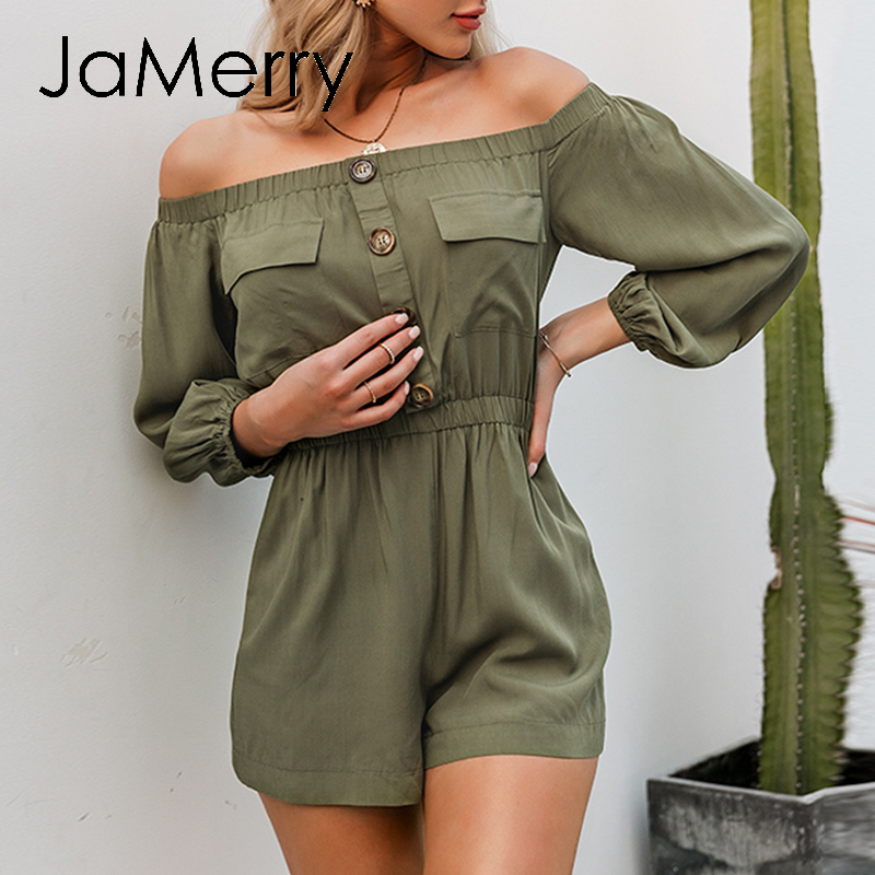 JaMerry Sexy Off Shoulder Women Playsuit Casual Lantern Sleeve Buttons Pockets Rompers Jumpsuit Spring Summer Office Overalls