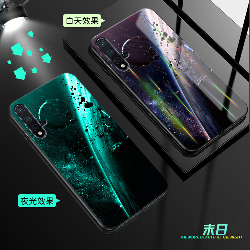 H284afc7fcc71441da03cf75e49a9a30br Luminous Tempered Glass Case For iPhone 5 5S SE 6 6S 7 8 Plus Case Back Cover For iPhone X XR XS 11 Pro Max Case Cover Cell Bag