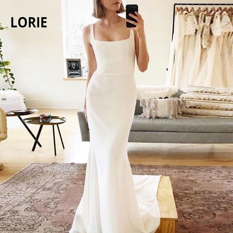 LORIE Spaghetti Strap Boho Wedding Dress Mermaid 2019 Soft Stain Long Train Bride Gowns Backless Sleeveless Simple Maxi Dress