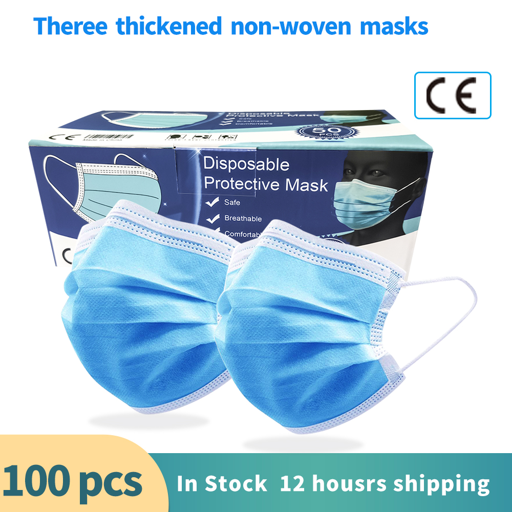 Disposable 3 Layers Protective Anti-dust Haze Mask Mascherine  Filtration Breathable Droplets  Protection Mouth Mask 50PCS