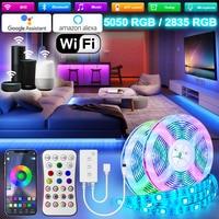 Tira de luces LED de 5M-30M, con WIFI, Bluetooth, RGB, 5050 SMD, 2835, cinta Flexible impermeable, diodo, Alexa, Control de teléfono, adaptador de CC