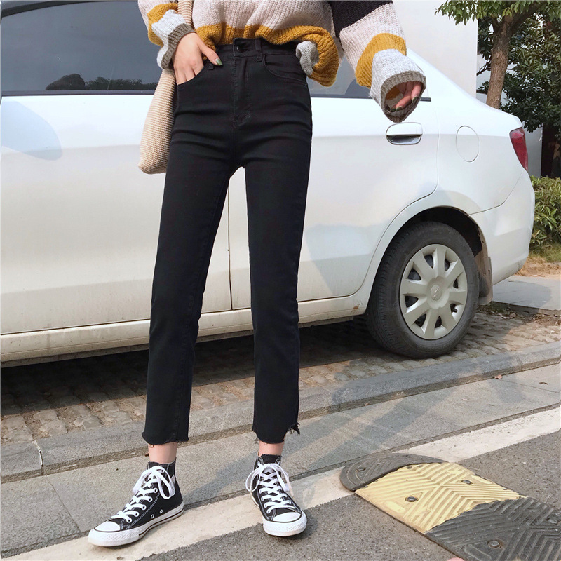 New Style Elasticity Irregular Torn Edge Small Slit Slim Fit Slimming Jeans Spring Students Versatile Casual Straight-leg Pants