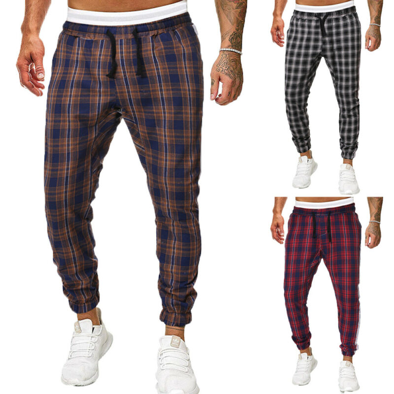 Fashion Men Plaid Loose Feet Pants Checkered Track Pants Premium Plaid Stretch Skinny Fit Casual Trousers Pant Male Boy Bottoms