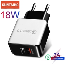 Suntaiho Quick Charge 3.0 18W for iPhone 11 Fast Charger US EU Plug Adapte for Samsung