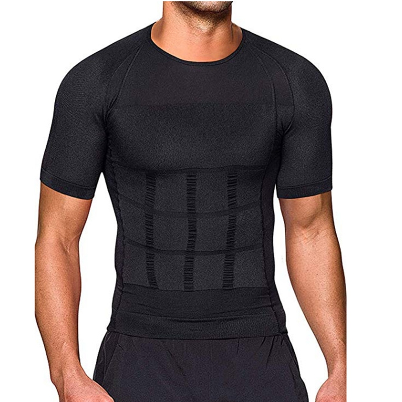 Мужская Тонизирующая футболка для тела, корректирующая рубашка для коррекции осанки, пояс для похудения, сжигание жира на животе, мужской компрессионный корсет для сжигания жира Корректирующее белье      АлиЭкспресс