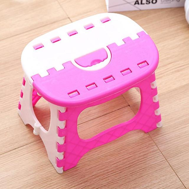 Folding Step Stool Foldable Plastic Portable Small Chair Bench For Children Kids Outdoor Bathroom Travel Camping With Handle 3