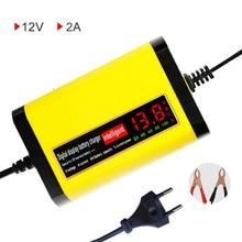 EU 12V 2A LCD Display Smart Ladegerät Für Motorrad Auto Voll Automatische Lade Adapter 12V Blei Säure AGM GEL Batterie 220V
