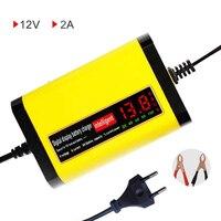 Ue 12V 2A wyświetlacz LCD inteligentna ładowarka do motocykla samochód w pełni automatyczny adapter do ładowania 12V kwasowo ołowiowy akumulator żelowy agm 220V w Ładowarki od Elektronika użytkowa na