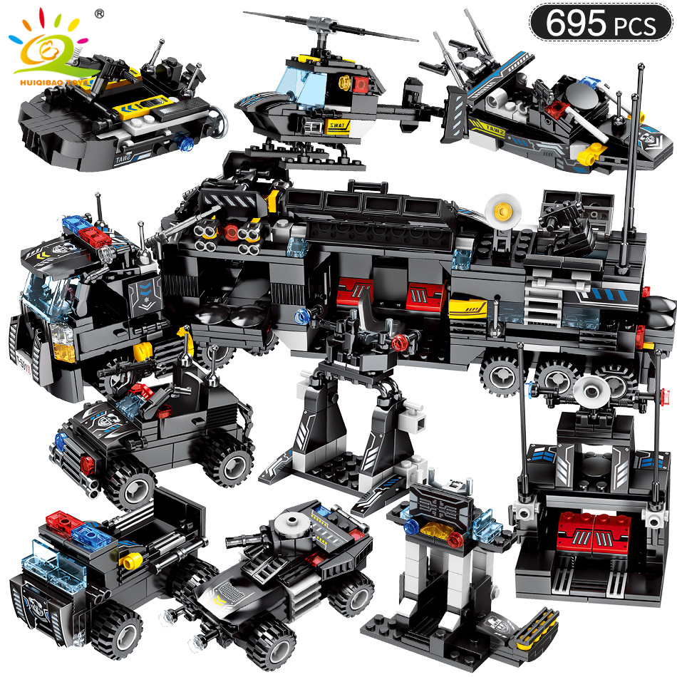 695pcs 8in1 Military Swat Command Vehicle Building Blocks Legoing City Police Figures Weapon Trucks Toys For Children