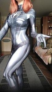 Image 2 - Черный кот симбиот девушка 3D Принт Дешевые спандекс женщина косплей костюм зентай боди горячая распродажа