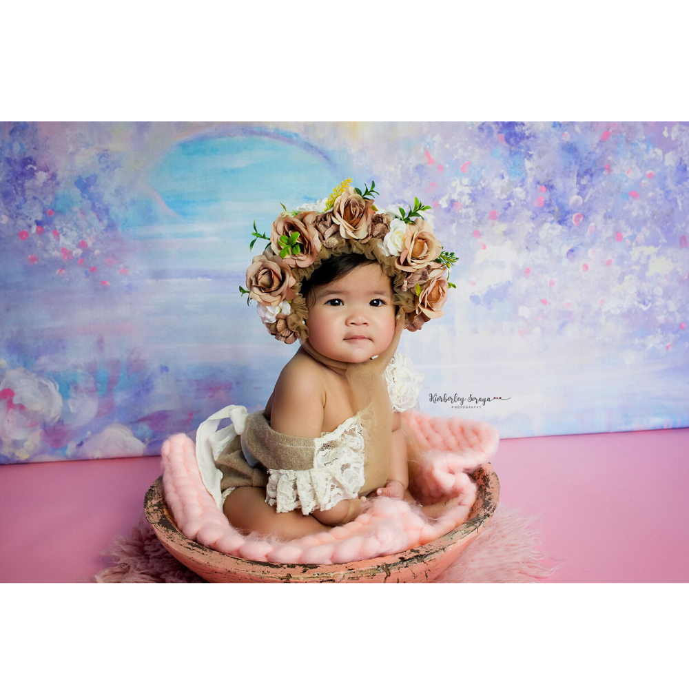 Don&Judy Newborn Hat + Blanket Set Newborn & Sitter Size Floral Bonnet with Matched 45x40cm Blankets Accessories For Photo Shoot