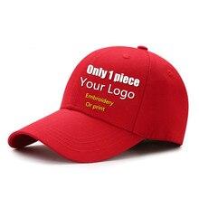 New adult cotton Print or embroidery DIY logo baseball caps Women men Custom logo AD Flat hip hop hat Snapback hats gorros