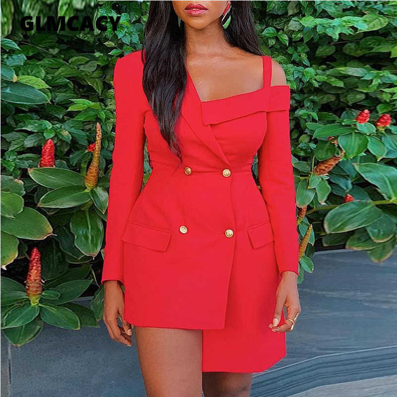 Women Cold Shoulder Double Elegant Breasted Blazer Dress Long Sleeve Casual Sheath Solid Above Knee Mini Turn-down Collar Dress