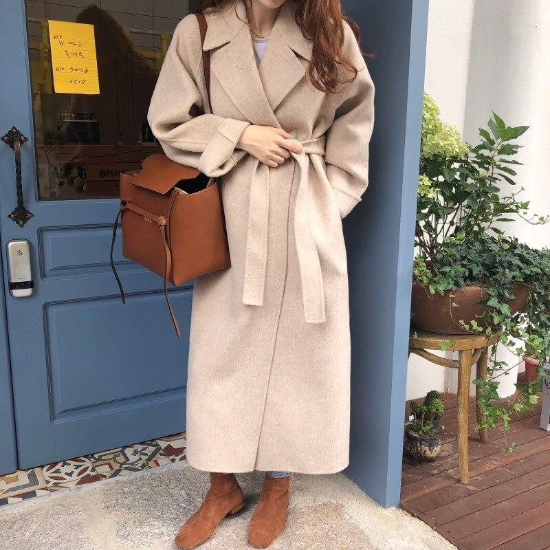 19 Winter Oversize Long Trench Coat Women Cashmere Coat Korean Lady Windbreaker Outwear Streetwear 65