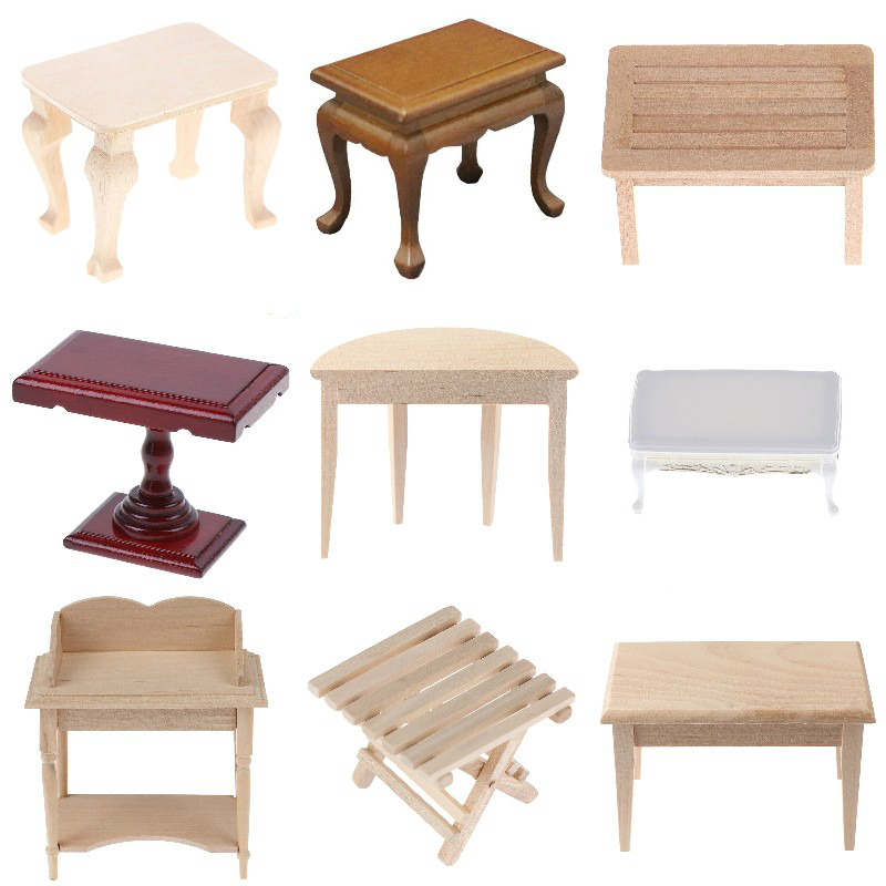 1//12 Dollhouse Miniature Mini Wooden Coffee Table Simulation Table Furniture