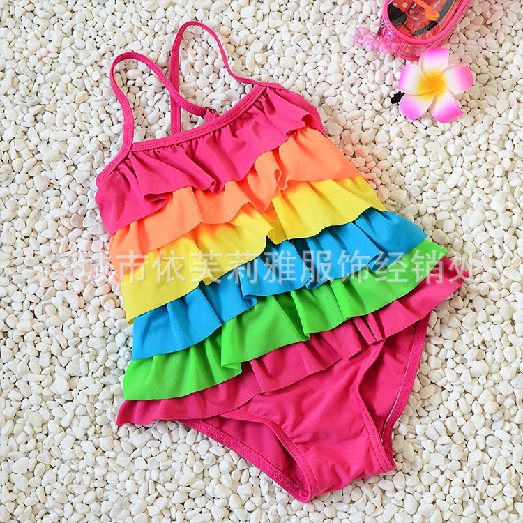 Korean-style KID'S Swimwear Women's Dress Three Four Five Six-Year-Old GIRL'S Swimsuit Rainbow Cute 4-6 Years Old Baby Bathing S
