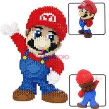 Bloques de construcción de Super Mario para niños, 2497 Uds., 21801 21802, Micro partículas de diamante, Juguetes de bloques de construcción de plástico insertado, regalos