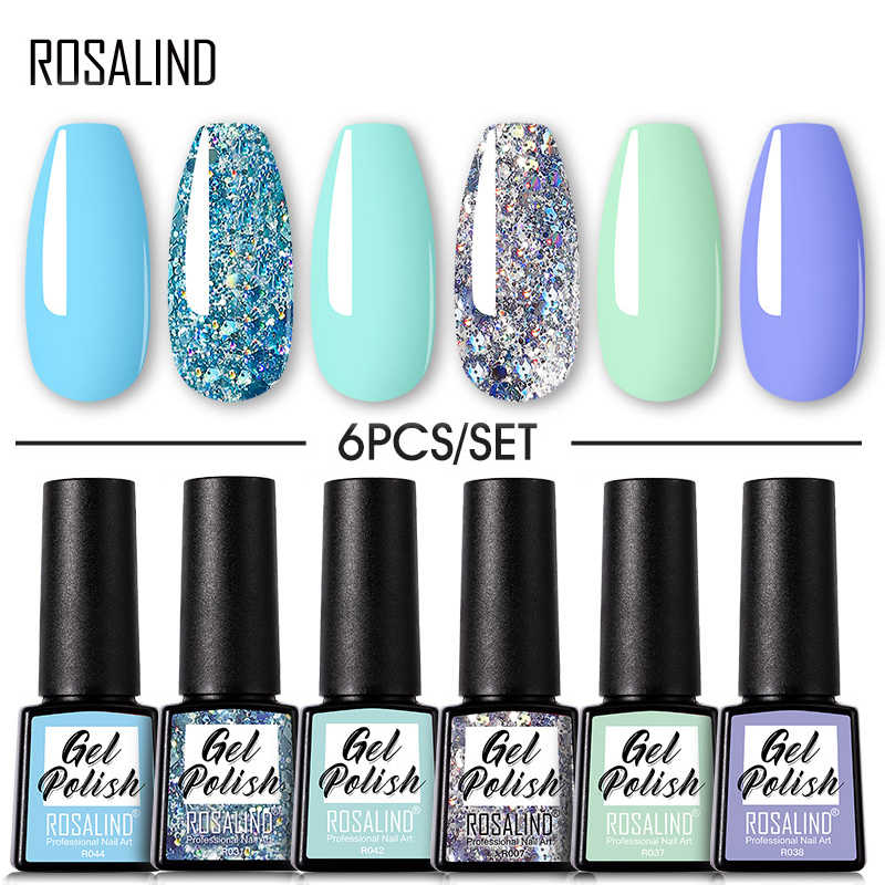 Rosalind Gel Polish Set 6 Stuks Losweken Uv Gel Vernissen Hybrydowe Gel Nagellak Voor Manicure Nodig Genezen Base top Coat Nail Kit
