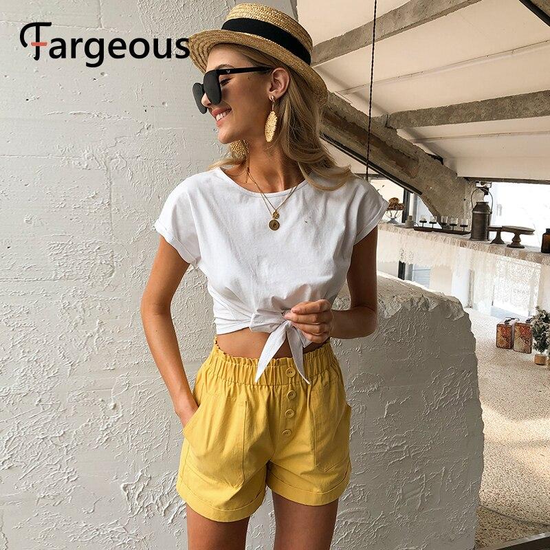Fargeous Casual Elastied Waist Yellow Shorts Women 2020 Summer High Street Pockets Short Pants Fashion Wide Leg Holiday Shorts