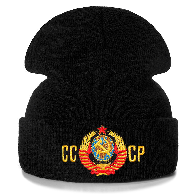 Russian CCCP Embroidery Cotton Casual Beanies For Men Women Knitted Winter Hat Solid Color Hip-hop Skullies Hat Unisex Cap