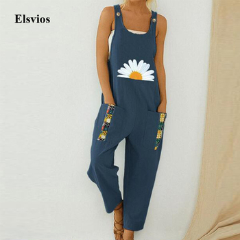 Women Loose Cotton Linen Jumpsuit Summer Floral Print Button Strappy Bodysuit Casual Backless Pocket Wide Leg Overall Romper 5XL