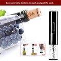 Abridor de vinho elétrico saca-rolhas abridor de garrafa de vinho automático kit sem fio com cortador de folha e bujão de vácuo barra de cozinha gadgets