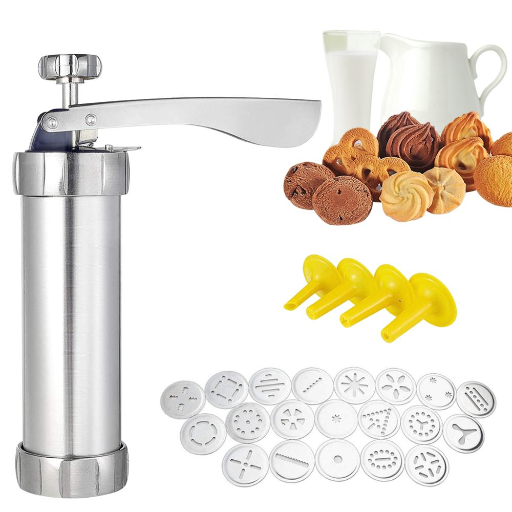 Cookie Press Gun Kit for DIY Biscuit Maker and Decoration with 20 Stainless Steel Cookie discs & 4 nozzles Cookie Machine Mould