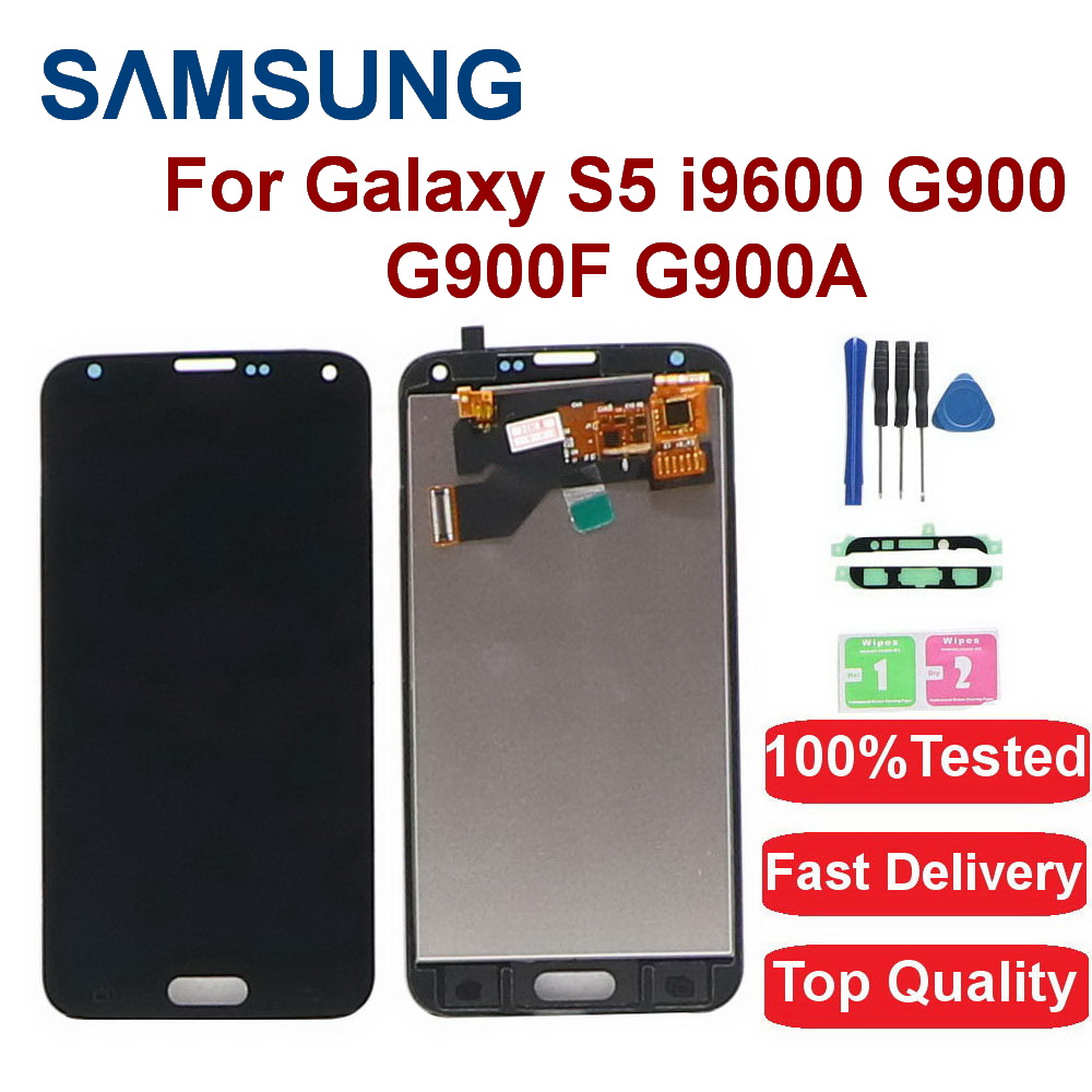 100% Test Lcd For <font><b>Samsung</b></font> Galaxy S5 i9600 G900 G900M <font><b>G900F</b></font> Lcd <font><b>Display</b></font> Touch Screen Digitizer Assembly Adjustable Brighteness image