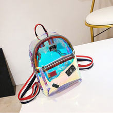 Female Backpack Small Pu Leather Women's Bag Cute Backpacks For Girls Clear Laser Bagpack Casual School Bags For Teenage Girls fengdong brand backpack for girls school bags female cute cat back bag backpacks for teenage girls new year girl christmas gift