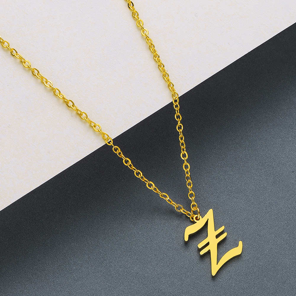Fashion 3 Colors Gold & Rose Gold & Silver Plated Old English Initial Letter Alphabet Necklace Female Jewelry Necklace