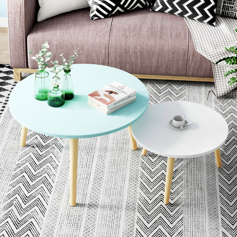 Multi-color Coffee Table Durable Compact Small Dinning Table Round Wooden Simple Table For LIving Room And Bed Room