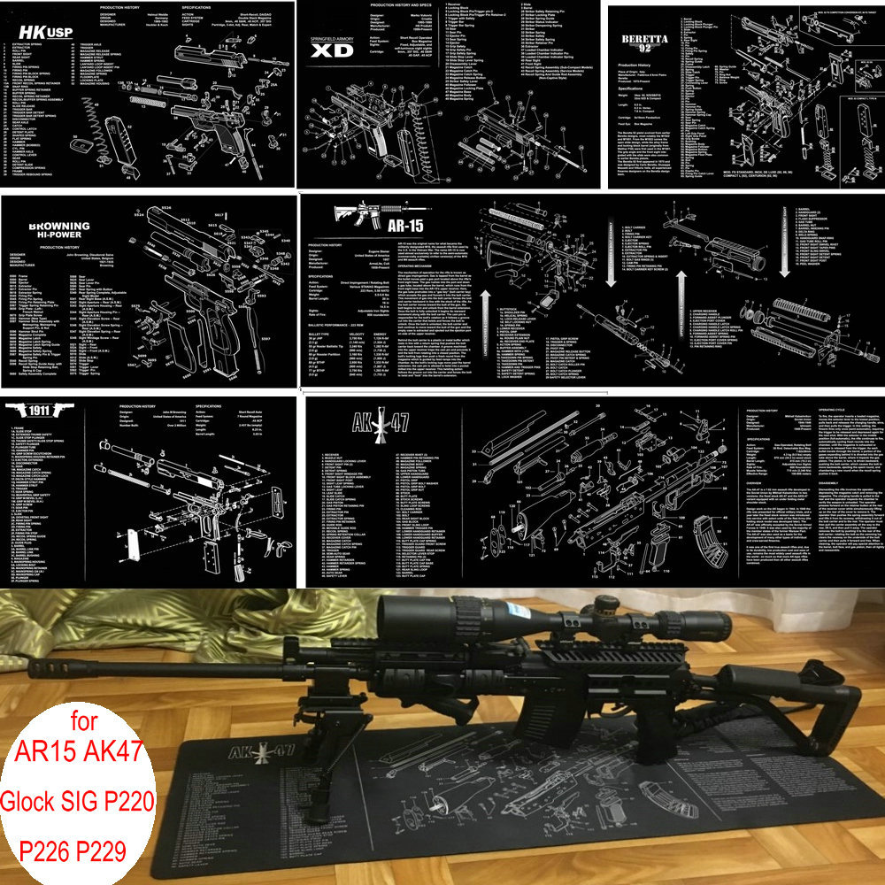 AR15 AK47 Gun Cleaning Rubber Mat W/ Parts Diagram & Instructions Armorers Bench Mat Mouse Pad For Glock SIG P220 P226 P229 1911