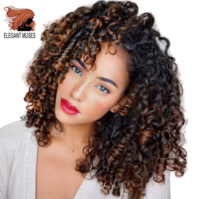 ELEGANT MUSES Synthetic Afro Kinky Curly Wigs Short Curly Wig with Bangs for Black Women Mixed Brown Ombre Blonde