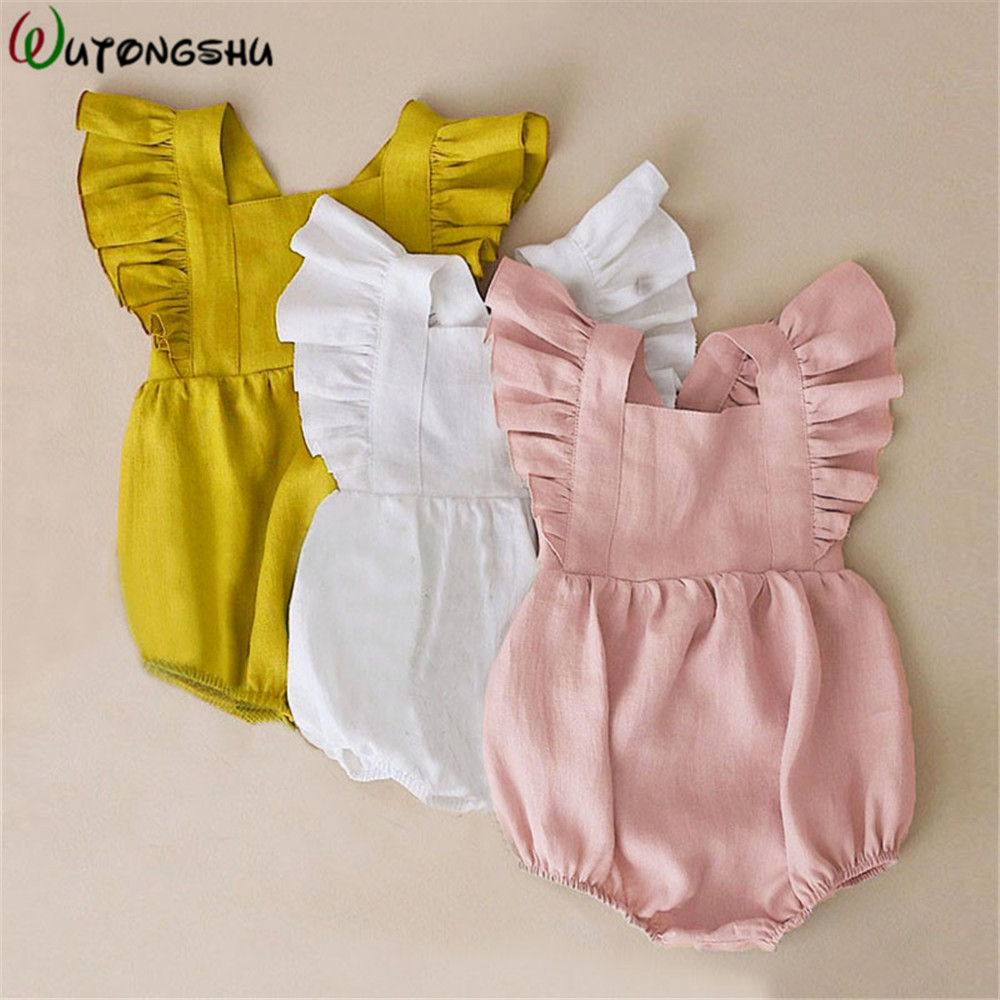 Baby Girl Clothes Summer Organic Cotton Ruffles Newborn Baby Boy Girl Short Sleeves Romper Jumpsuits Infant Outfit For 0-2Y Kids
