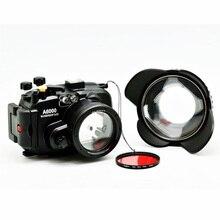 40 متر/130ft لسوني A6000 (16 50) كاميرا تحت الماء الإسكان زاوية واسعة قبة ميناء عدسة 67 مللي متر الأحمر الغوص تصفية