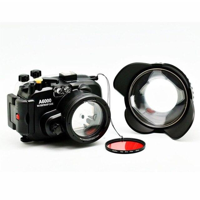 40 m/130ft A6000 para Sony (16 50) carcasa de cámara subacuática + lente gran angular de puerto de cúpula + 67mm Filtro de buceo rojo