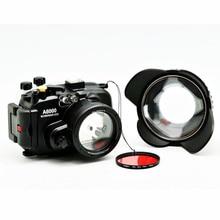 소니 a6000 (16 50) 수중 카메라 하우징 + 광각 돔 포트 렌즈 + 67mm 레드 다이빙 필터 용 40 m/130ft